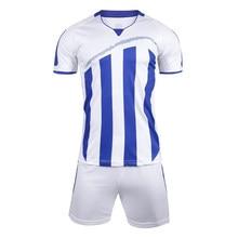 9801de268 2019 Men Striped Survetement Football Jerseys Team Sports Kit Soccer Jersey  Sets Uniforms Shirts Shorts Kit Maillot De Foot DIY