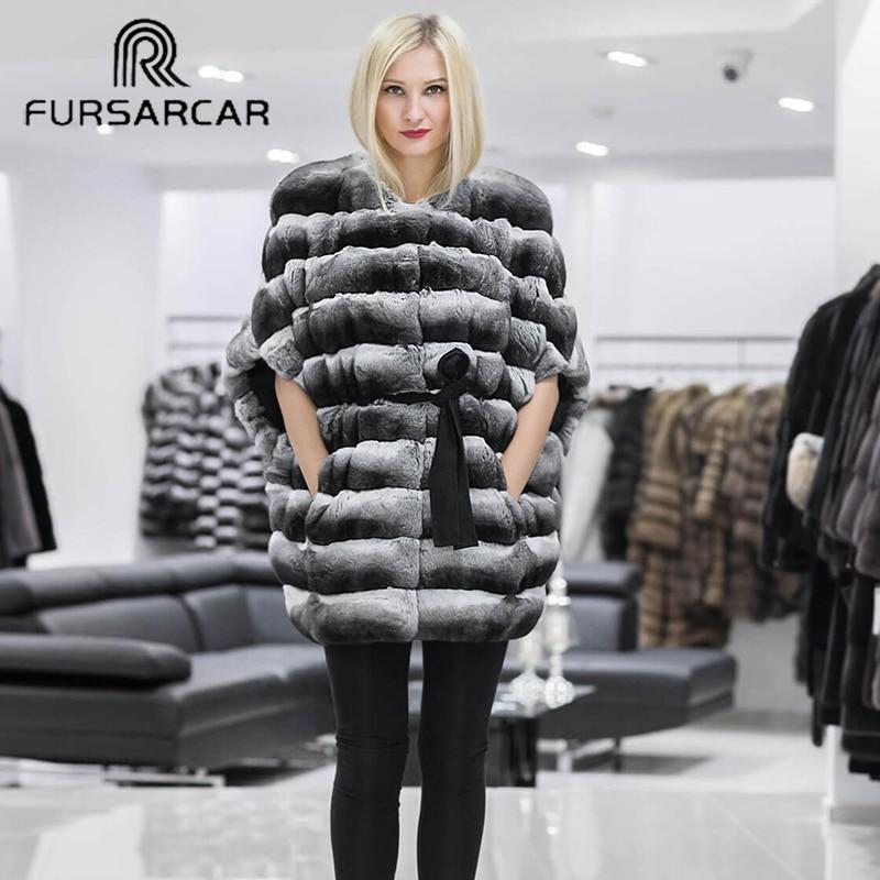 FURSARCAR 2019 New Short Fur Coat Natural Rex Rabbit Fur Coat Women Winter Thichk Warm Rabbit Fur Female Jacket Genuine Leather