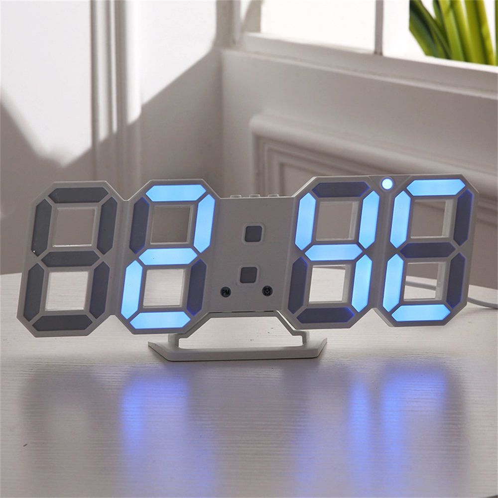 Image 3 - Digital Wall Clock 3D LED Alarm Clock Electronic Desk Clocks with Large Temperature 12/24 Hour Display-in Wall Clocks from Home & Garden
