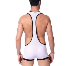 Sexy Men's Bodybuilding Wrestling Singlet Low-cut Breathable Mesh Cotton Underwear Clothing Jumpsuit Suspender Sexy Bodysuit