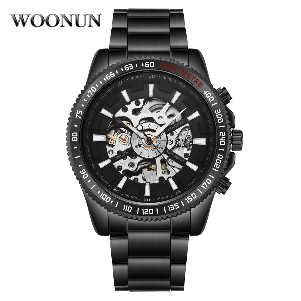 New Mechanical Watch Men's Watches Mens Skeleton Watches Top Brand Luxury Sports Black Stainless Steel Automatic Watches Winner winner skeleton mechanical watch luxury men black waterproof fashion casual military brand sports watches relogios masculino