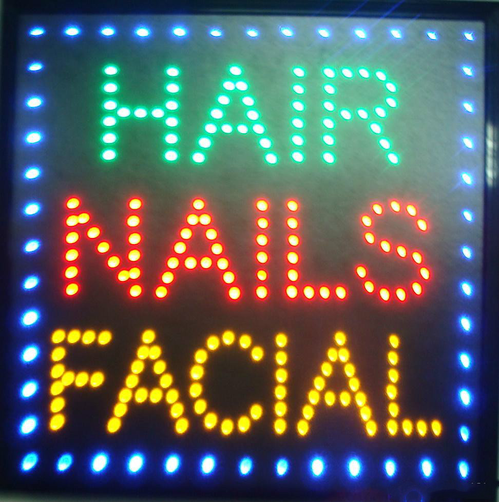 New arriving customized 19*19 inch led light sign Hair Nails Facial beauty salon care shop signs eye catching slogans
