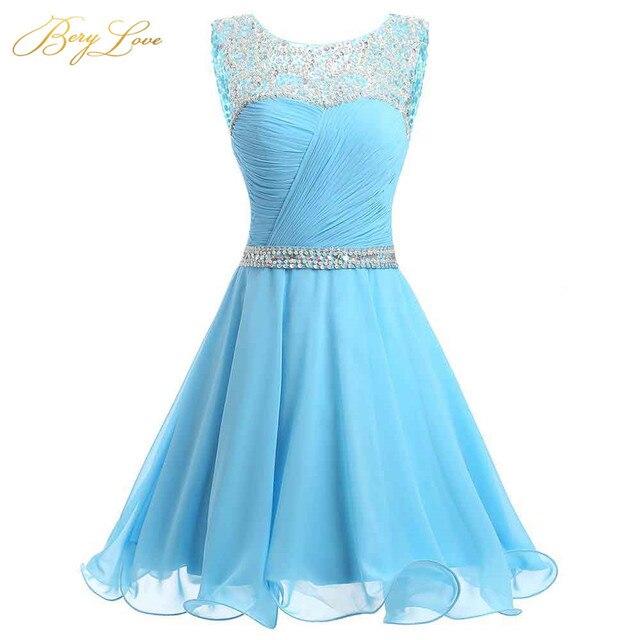 BeryLove Blue Short Homecoming Dresses 2019 Mini Beaded Chiffon Homecoming Gowns Short Graduation Dresses Gowns Prom Dresses