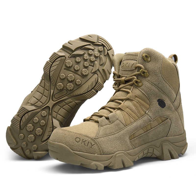 2018 Kış Moda Askeri Botlar Erkekler Rahat yarım çizmeler Erkekler iş ayakkabısı Ordu Çöl Savaş Botları Erkekler Kar Ayakkabısı