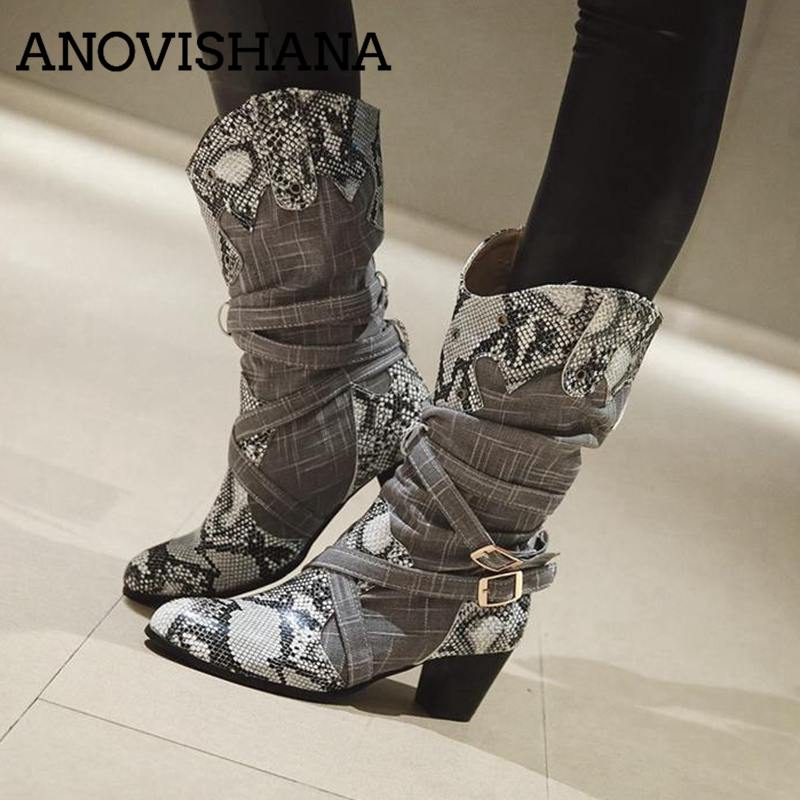 ANOVISHANA Winter Boots Women Western Cowboy Boots For Women Snake Print Mid-Calf Boots Female Shoes Booties Botas Mujer A693