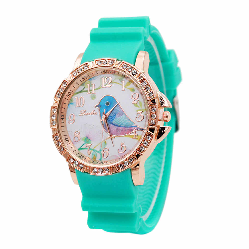 Women Watch Floral Bird Pattern Girl Crystal Dial Quartz Analog Silicone Band Casual Dress Women's Wrist Wristwatches 2019 New