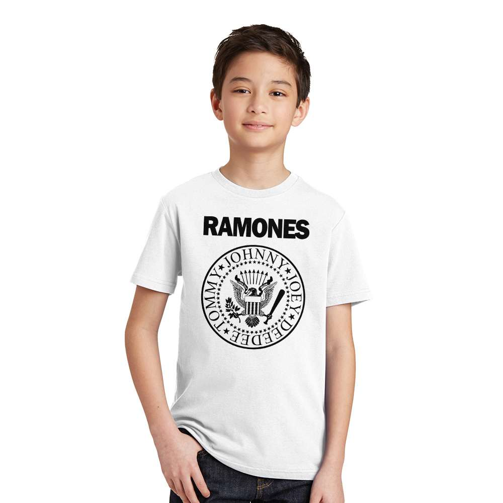 Summer 2017 punk rock T shirt Children Tops Tees Short sleeve o neck Kids summer T-shirt RAMONES printed Top Boys Girls 2-12Y shein black elegant mock neck scallop trim cut out v collar short sleeve solid tee summer women weekend casual t shirt top