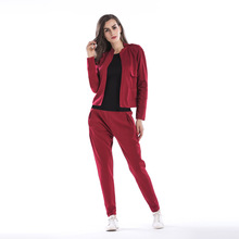 YYFS 2019 Casual Tracksuit Women 2 Pieces Set Zipper Tops + Long Pants Sporting Polyester Clothes Suit