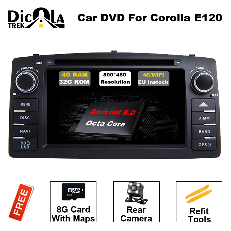купить 4G RAM Android 8.0 Octa Core for BYD F3 Toyota Corolla E120 2003-2006 Car DVD GPS Navigation with Radio Wifi BT Mirror Link по цене 19718.6 рублей