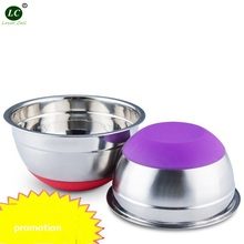 Mixing Bowl Stainless steel Basin Round Silicone Basin w/Cover Kitchen Home Thickening Deepening Salad oil Baking Egg Bowl