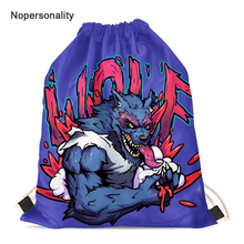Nopersonality Colorful 3d Wolf Print Drawstring Bag for Women Small Children Girls String Bag Portable Travel Storage Bags