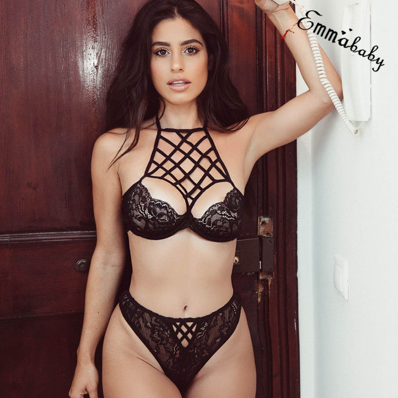 Women Sexy Lingerie Open Cup Bra G-string Set Nightwear Sleepwear Lace Top Mesh Underwear Erotic Apparel Lenceria Femenina