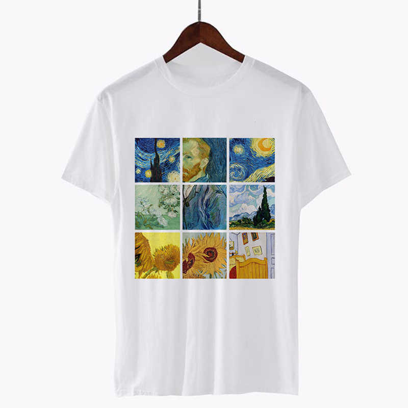 Fashion 2018 Women Tshirts Vincent Willem Van Gogh Printed T-Shirt Hip Hop Tumblr Grunge Aesthetic Outfits Tee Psychedelic Tops