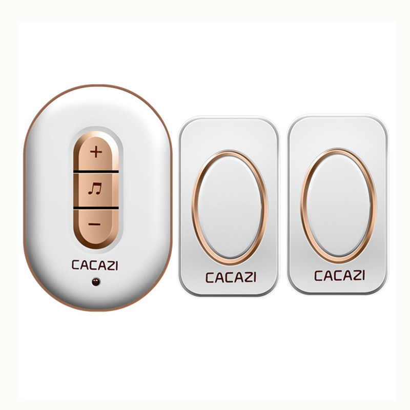 CACAZI AC 110-220V 2 transmitters+1 receiver with 48 Chimes Receiver Waterproof Wireless Doorbell Cordless Smart Door Bells door bell with 36 chimes single receiver waterproof plug in type wireless doorbell cordless smart door bells doorbells
