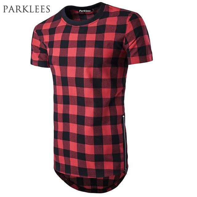 A Cuadros Negro Rojo T Camisa De Los Hombres De Linea Larga Hip Hop