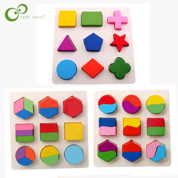 Baby Kids Wooden Learning Geometry antistress Educational Toys Puzzle Children Early Learning 3D Shapes Wood Jigsaw Puzzles toys