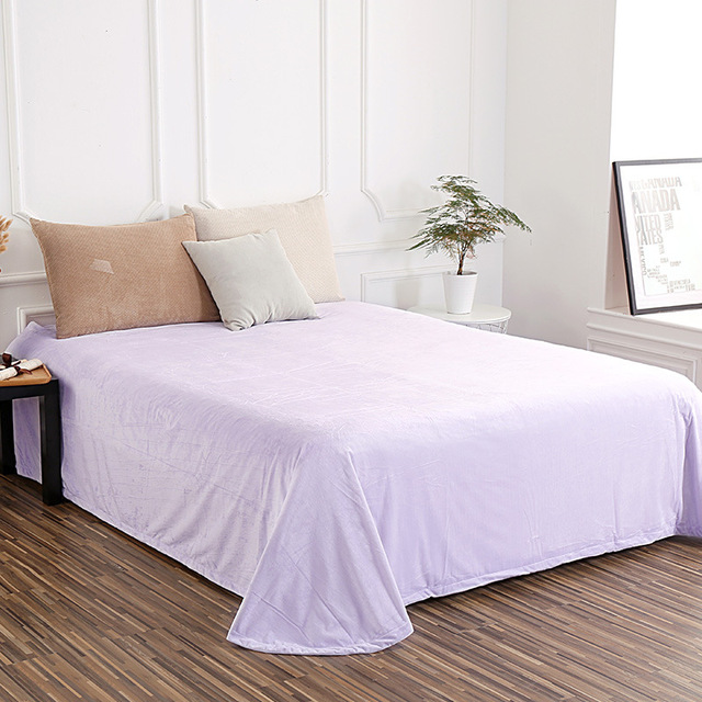 1 Piece Warm Thick Bedding Sheet Soft Velvet Sheets For Mattress Solid Flat Bed 12