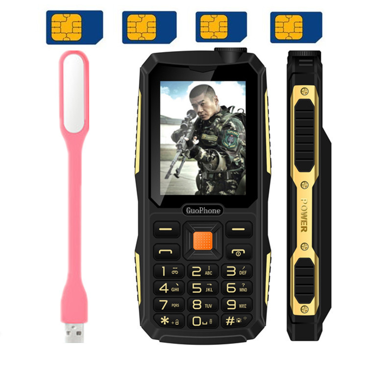 2017 Promotion WaterProof GuoPhone V3 With 4 Sim Four Sim Card phone Quad Sim Card Phone Dustproof Shockproof 2.4'' incn Phone