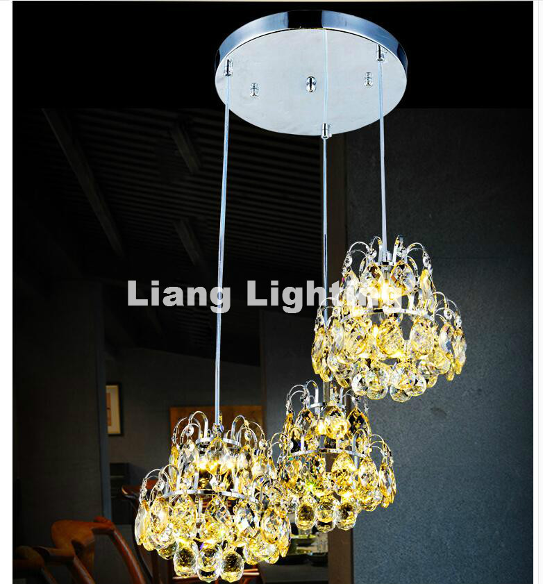 Free Shipping Modern Crystal Pendant Lamp 3L Creative Restaurant Cord Pendant Lighting FixtureS Contemporary Style 110-240V Lamp best price rectangular crystal chandeliers k9 crystal ceiling lamp lighting fixtures restaurant led lighting e14 free shipping