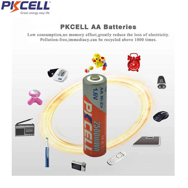 12 шт. PKCELL NIZN AA Аккумуляторная батарея aa ni-zn 2500mwh 1,6 в NIZN батареи для цифровых камер вспышки электрические игрушки