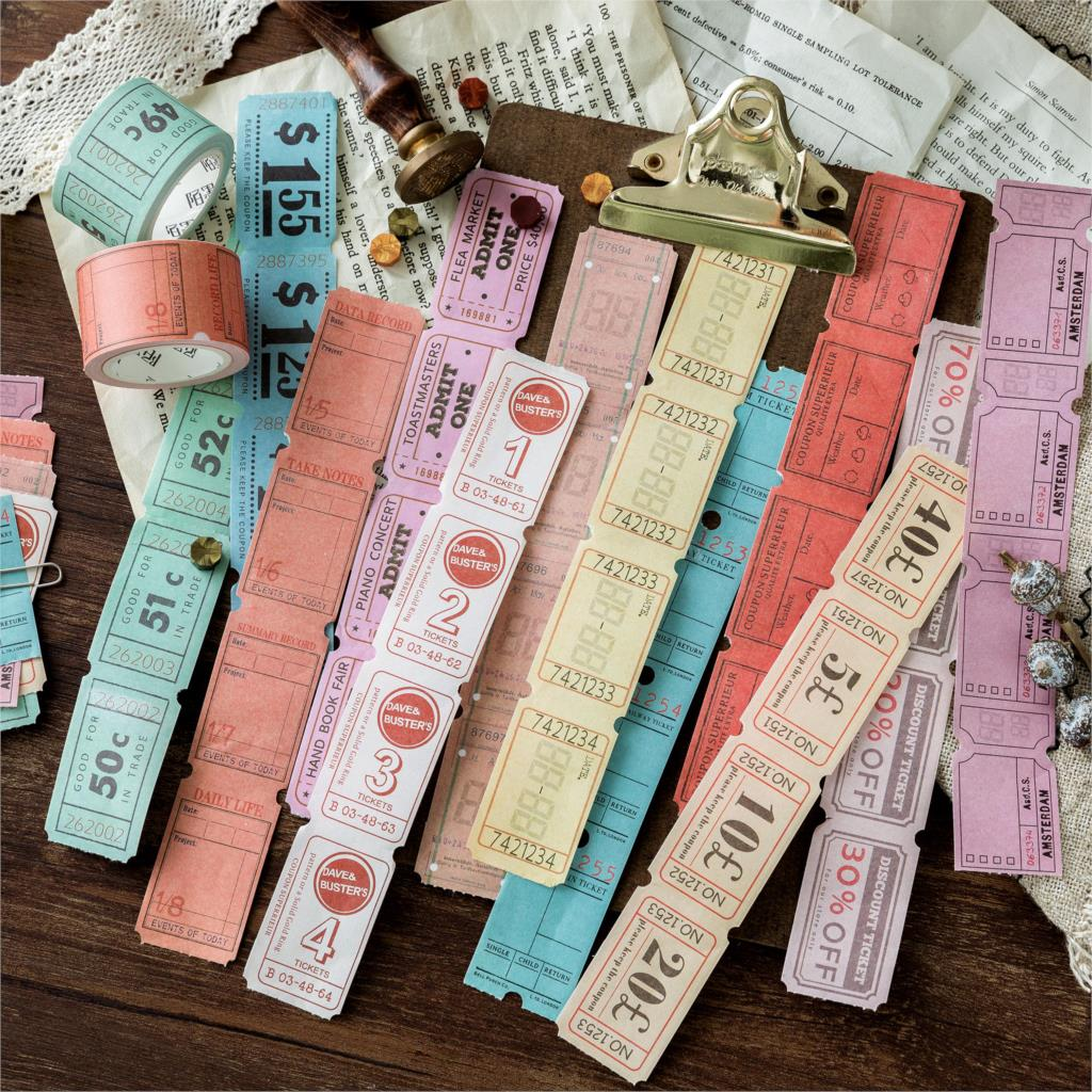 Retro Bill Series Washi Tape Japanese Paper Diy Planner Masking Tape Vintage Adhesive Tapes Stickers Decorative Stationery
