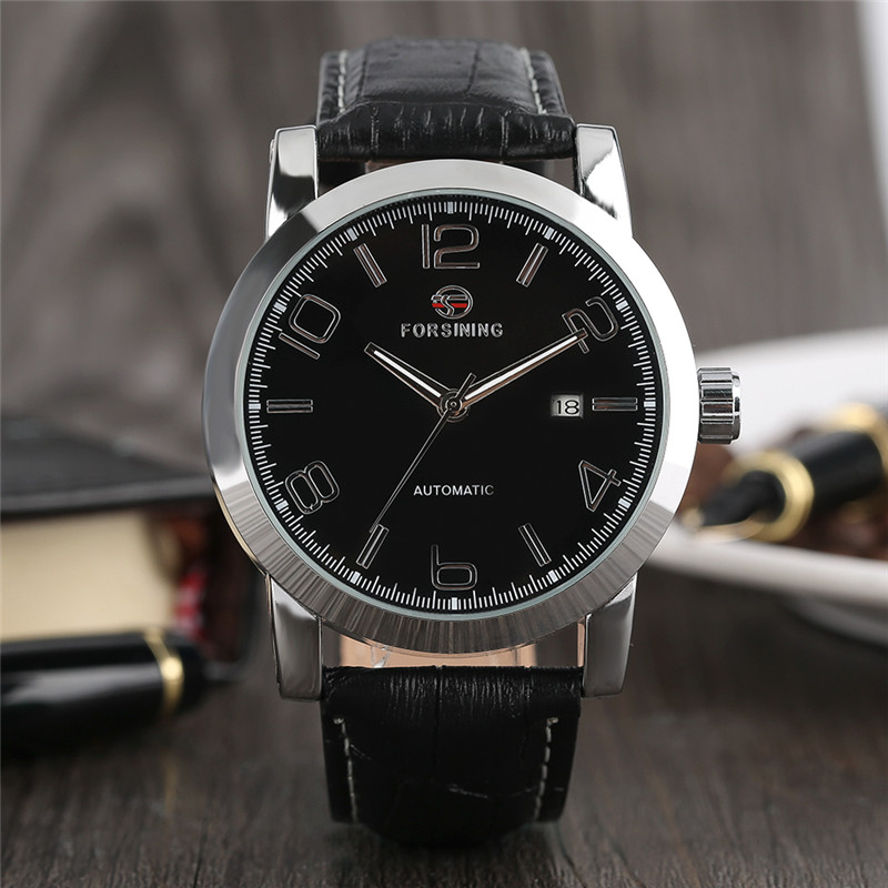 FORSINING Luxury Men Mechanical Wristwatch Automatic Self-Wind Number Dial Black Genuine Leather Band Casual Male Watch Gift 2016 luxury wristwatch black leather belt male automatic watch men s sports watch black face