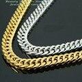 Tom de Prata De Ouro de Aço Inoxidável homens Cadeia personaliza, Colar masculino, moda Jóias de Presente de Natal 6mm 18 polegada-40 polegada