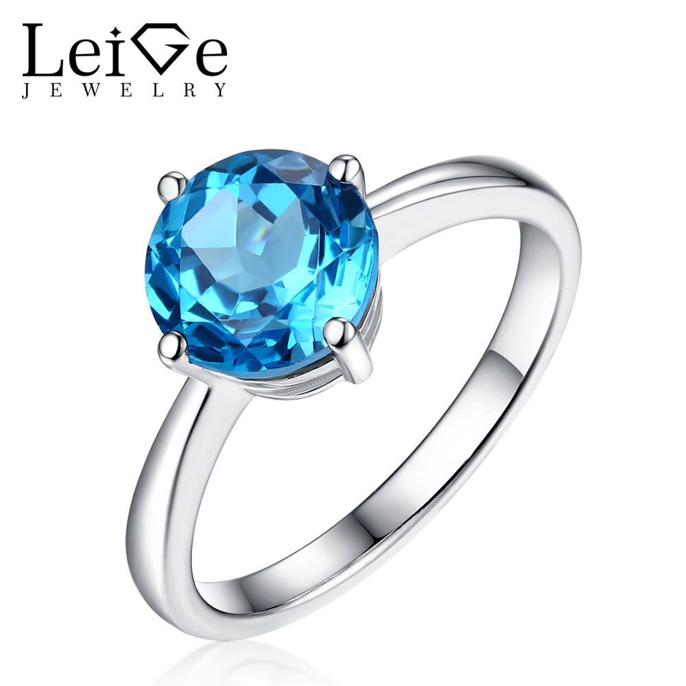 Leige Jewelry Natural Swiss Blue Topaz Ring Round Cut Gemstone 925 Sterling Sliver Wedding Rings for Women Fine Jewelry