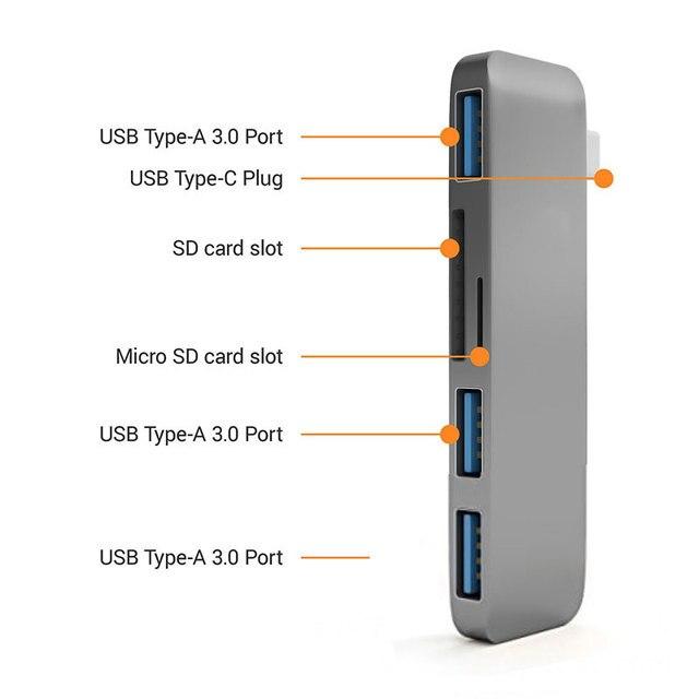 Hub USB C moable HDMI Thunderbolt 3 adattatore USB 3.1 con Slot per lettore di schede SD TF TF porta USB 3.0 per MacBook Pro/Air tipo-c Hub 6