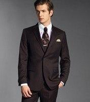 Custom Made Groomsmen Notch Risvolto Sposo Smoking Cioccolato Abiti da Uomo Matrimonio Uomo Migliore (Jacket + Pants + Tie + Hankerchief) B801