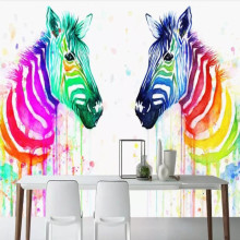 Nordic modern colorful watercolor zebra tooling TV background wall
