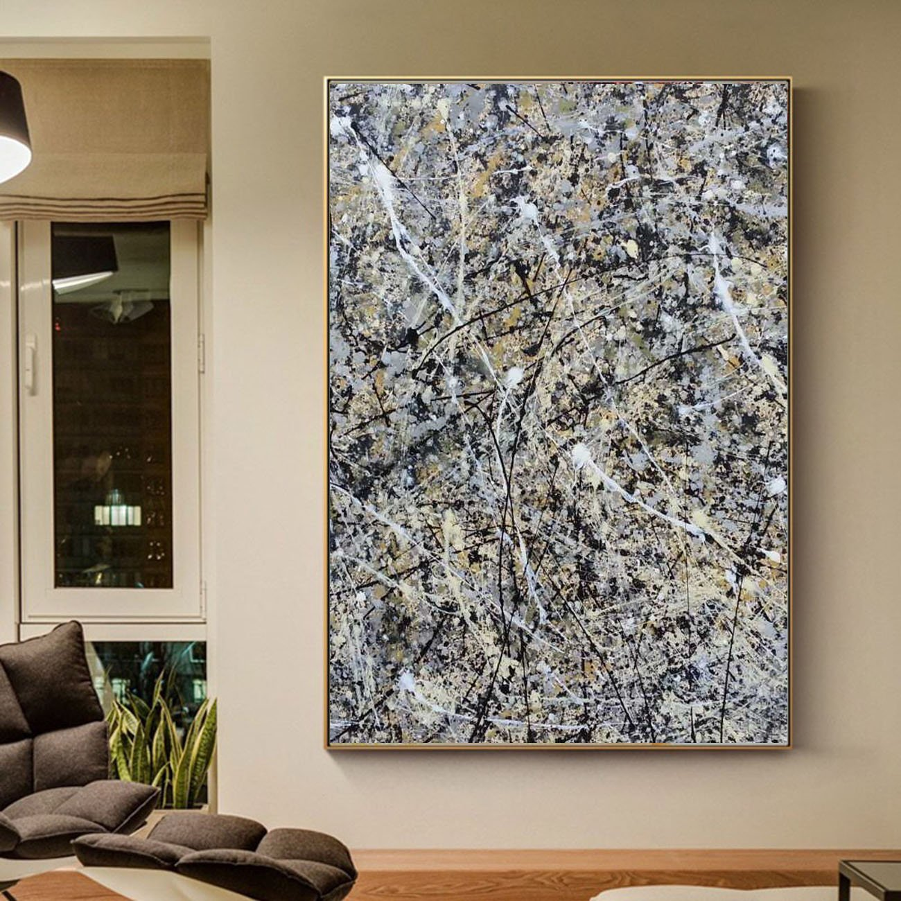 Oil-Painting Jackson Abstract-Art Master Oversized On Canvas Living-Room For For-Sale