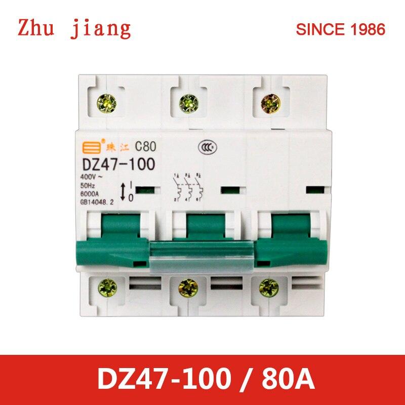 miniature circuit breaker DZ47-100 3P 80A MCB miniature circuit breaker DZ47-100 3P 80A MCB