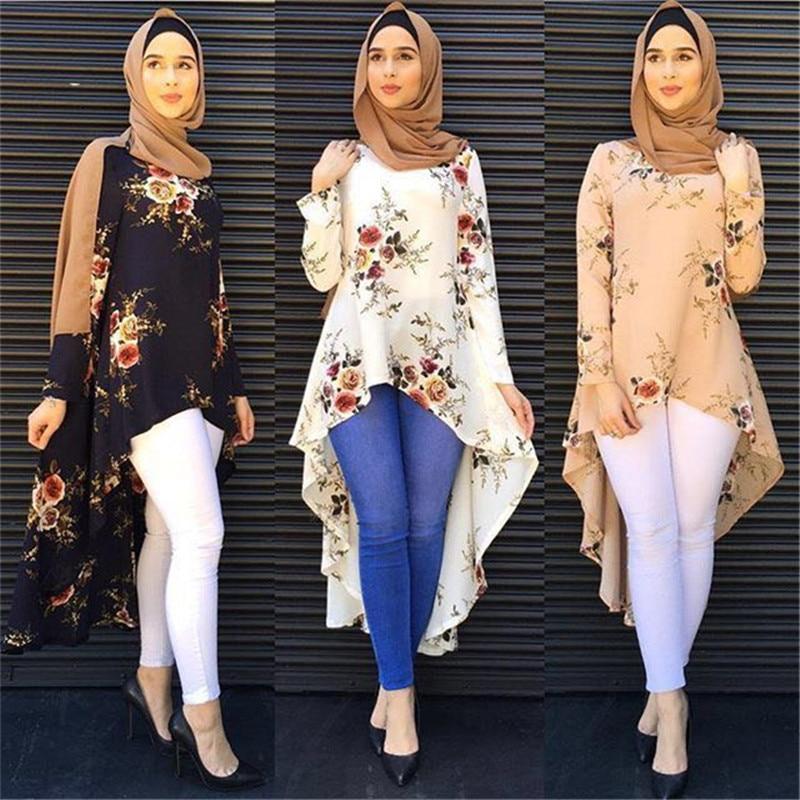 Muslim Blouses Adult Women Shirts Dress Long Blouse Islamic Tops New Abaya Vintage Dress Shirt Loose Style Рубашка