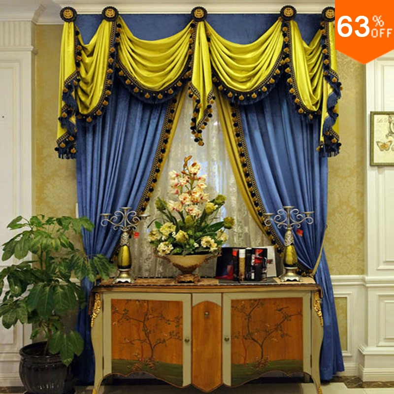 Green and blue luxurious Rod Stick Hang style Living Room curtains for Restaurant New Nail Valancer Blackout color Green Curtain