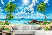 HD Beautiful Wallpaper Sea Coconut Beach Landscape 3D Wallpapers For Living Room Sofa TV Backdrop