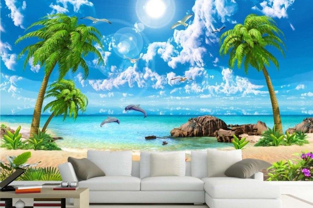HD Beautiful Wallpaper Sea Coconut Beach Landscape 3D
