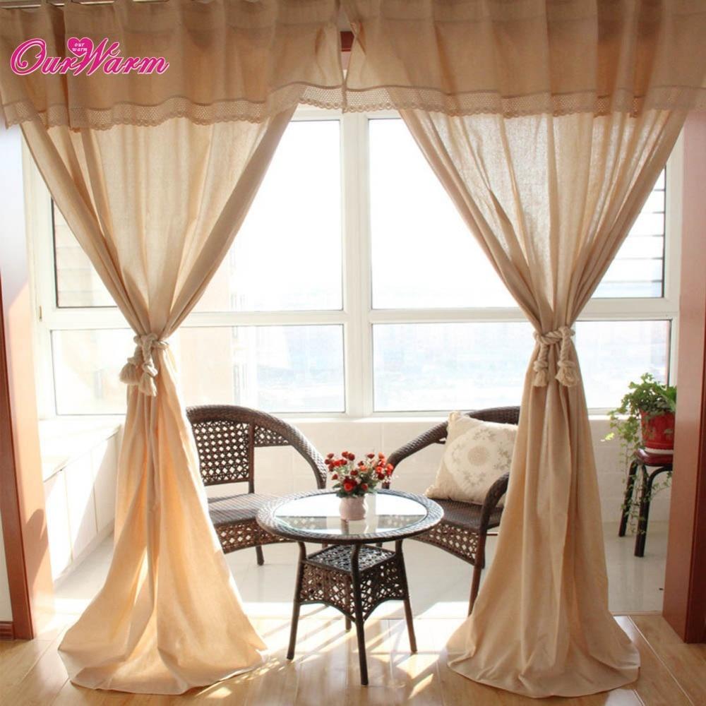 Cotton lace curtains - Linen Lace Crochet Curtains Hook Bar Cotton Pelmet Valance Window Panel Beige