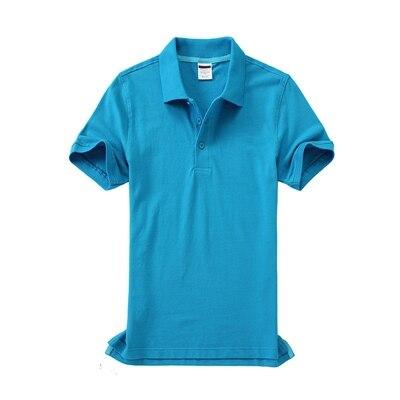 Черные, синие, белые, серые, желтые женские рубашки поло с коротким рукавом, женские повседневные рубашки поло, свободные женские рубашки больших размеров, хлопковые рабочие Топы - Цвет: Синий