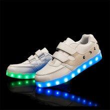 Size25-37 2017 случайные дети кроссовки USB зарядки дети СВЕТОДИОДНЫЕ светящиеся shoes мальчики девочки телевизор с красочными мигалками кроссовки