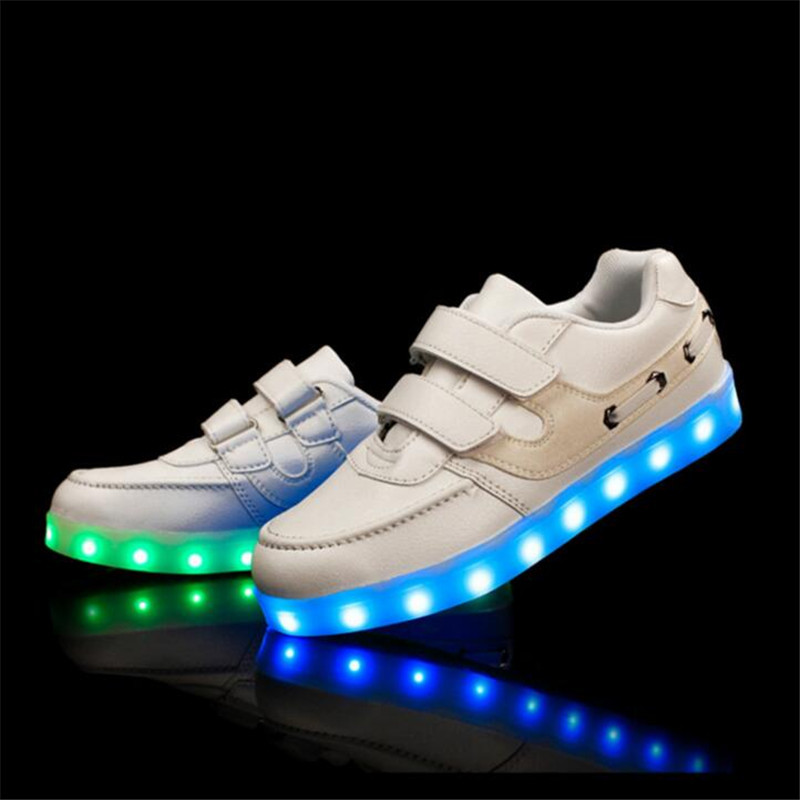 Size25 37 2017 casual children sneakers USB charging kids LED luminous shoes boys girls flat colorful