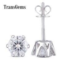 Transgems Solid 14K 585 White Gold 2CTW 6.5mm F Color Moissanite Stud Earrings For Women Birthday Gift Screw Back