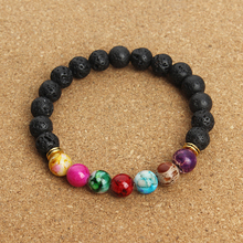 New Natural Black Lava Stone Bracelets 7 Reiki Chakra Healing Balance Beads Bracelet