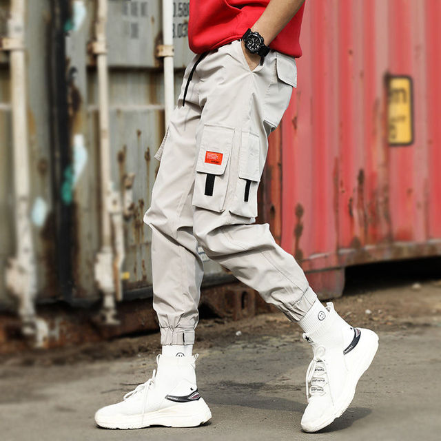 2020 Men Multi-pocket Elastic Waist Design Harem Pant Street Punk Hip Hop Red Casual Trousers Joggers Male Army Cargo Pants XXXL 30