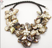Wedding Women Jewelry Natural White Pearl 5 Flower Pendant Bright Coffee Brown Shell Mother Of Pearl