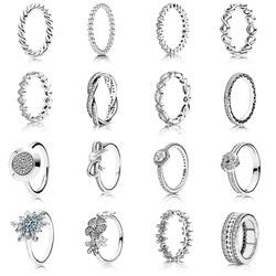 16 estilo Anel de Prata Encantos Do Amor Do Coração Deixa Flores Arco Estrela De Cristal Anéis Para As Mulheres de Jóias