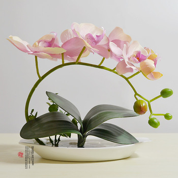 Foreign high-end simulation silk flower High simulation flowers bonsai ceramic bonsai TC176 fresh four-color optional