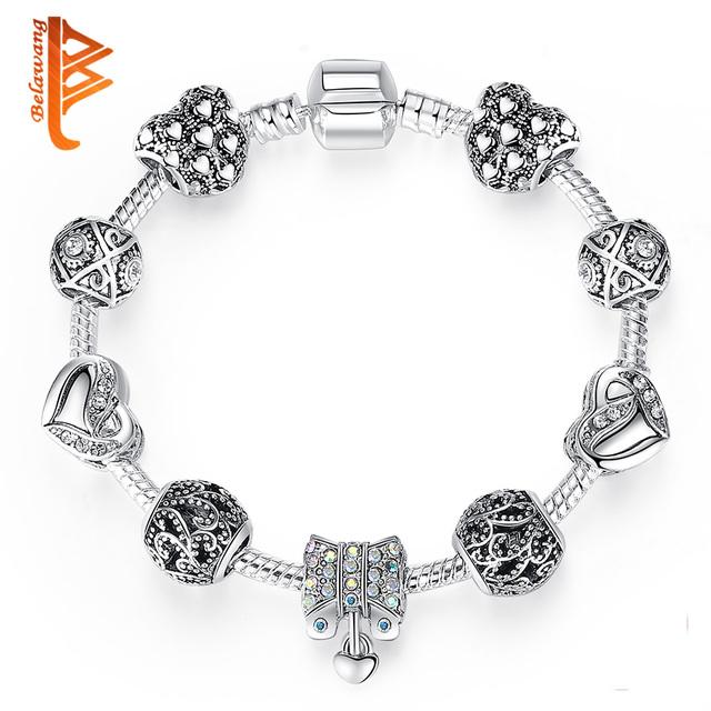 Silver Color Love Forever Crystal CZ Charm Bracelet for Women DIY Jewelry Original Bowknot Heart Beads Bracelets Gift