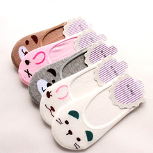 Cartoon Cotton sock slippers 1 pair New Cute Bear Cat Rabbit Stealth Boat Socks Female Animal Print Sock
