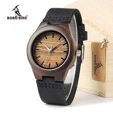 BOBO BIRD E26 100 Ebony Wood Women Dress Wristwatch With Leather Strap Casual Watch reloj hombre